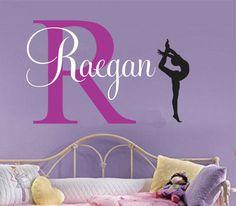Girls name decal gymnast wall decal Gymnastics Vinyl Sticker Decals Art Decor…