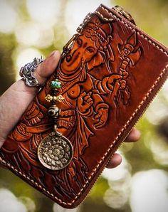 Handmade leather Ganesha biker wallet long wallet brown leather men phone