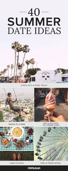 Swing, dive, skate, or hike your way into the new season with one of these sunny date ideas. Take advantage of the warmer temperatures Spring has to offer by taking date night outside. We've rounded up tons of beautiful inspiration for romantic outdoorsy outings (some are perfect for getting a head start on your Summer bucket list). So grab your fling or longtime lover, throw on a bikini or your sneakers, and try these outdoor date ideas.