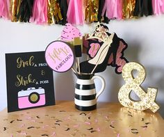 Fifty & Fabulous Birthday Photo Booth Props | Pink, Black, and Gold Photo Booth Props | Birthday Photo Booth Props by CMCraftStudio on Etsy