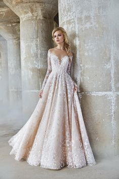 Style 6761 Stevie Hayley Paige bridal gown - Sandwashed orchid caviar bridal ball gown, off-the-shoulder long sleeve detail with illusion bateau neckline front and back, full floral skirt. Wedding Dress Pictures, Wedding Dresses 2018, Tulle Wedding, Designer Wedding Dresses, Modest Wedding, Floral Wedding Dresses, Christmas Wedding Dresses, Vintage Inspired Wedding Dresses, Most Beautiful Wedding Dresses