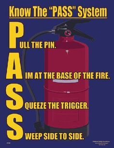 Workplace Safety Poster explaining the PASS system of putting out a fire Lift Operator Training www. Fire Safety Poster, Health And Safety Poster, Safety Posters, Workplace Safety Tips, Office Safety, School Safety, Safety At Work, Safety Week, Fire Safety Training