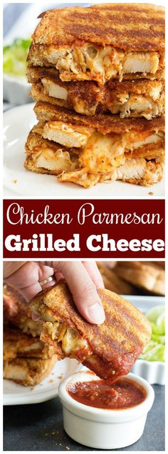 Chicken Parmesan Grilled Cheese Sandwich is the best of both worlds! You'll love a delicious chicken sandwich with marinara sauce!