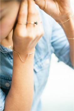 14K thin gold cuff with chain