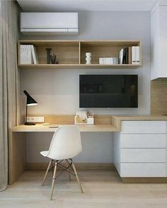 31 White Home Office Ideas To Make Your Life Easier; home office idea;Home Office Organization Tips; chic home office. Home Office Layouts, Home Office Space, Home Office Design, Home Office Decor, Office Furniture, Furniture Design, Home Decor, Office Ideas, Tiny Home Office