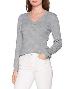 Pull Clothing 46 V Heritage svrgrymrl Femme 1163857 Cable Neck Gris Jumper Crew SYUOqwqZ