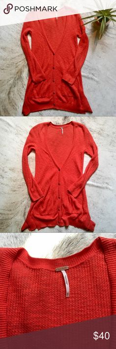 Free People Oversized Crochet Cardigan Sweater XS Free People oversized burnt red long sleeve crochet cardigan sweater in sz XS. 62% Cotton. 35% Rayon. 2% Nylon. 1% Spandex. In like new condition; only worn once! Free People Sweaters Cardigans