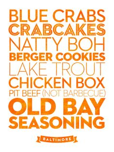 Delicious City Prints: Baltimore Art Print