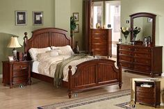 A.M.B. Furniture & Design :: Bedroom furniture :: Bedroom Sets :: Wood Bed Sets :: Headboard & Footboard sets :: 5 pc Spring Bay Cottage Style Cherry Brown Finish Wood Queen Bedroom Set