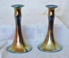 Special SALE! Offered by Yesteryears Accents on rubylane.com/shop/yesteryearsaccents - Rare Pair Dugan-Diamond Royal Lustre Candlesticks circa 1920s Egyptian Lustre
