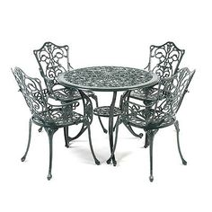 #Stamford ornate cast  aluminium 4 #armchair 90cm round outdoor set - dark #green,  View more on the LINK: 	http://www.zeppy.io/product/gb/2/271908593727/