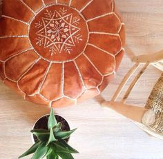 ROUND HENNA POUF - High-Quality Leather Moroccan Ottoman - Handmade Floor Cushion by ZineInteriors on Etsy https://www.etsy.com/listing/263410309/round-henna-pouf-high-quality-leather