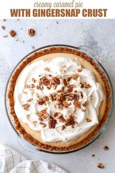 A light and creamy caramel pudding pie with a gingersnap pecan crust. It's a perfect pie for fall! Caramel Pie, Caramel Pudding, Pudding Pies, Caramel Recipes, Caramel Apples, Pie Recipes, Dessert Recipes, Sweet Recipes, Recipies
