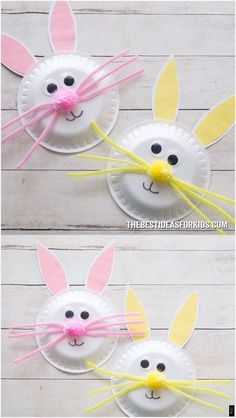 Paper Plate Easter Bunny Craft is part of Easter bunny crafts - A fun and simple Easter craft for kids! Learn how to make this easy paper plate Easter bunny craft Kids will love making them! Easy Easter Crafts, Spring Crafts For Kids, Bunny Crafts, Daycare Crafts, Easter Crafts For Kids, Preschool Crafts, Craft Kids, Children Crafts, Summer Crafts