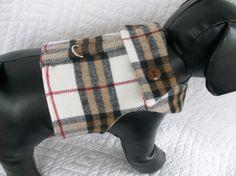 Plaid Woolette Boys Dog Harness Vest Custom by graciespawprints