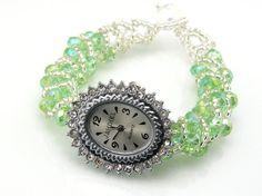 Peridot Green Beaded Watch by TrinketsNWhatnots on Etsy, $35.00