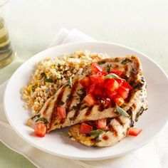 Herb-Grilled Turkey Superlean turkey cutlets served with fiber-rich bulgur and tomato salsa, deliver a meal that's light on fat, calories, and effort. #myplate #wholegrain #protein