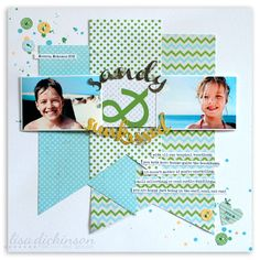 Page by Lisa Dickinson. Love this as a way to use papers with busy, intimidating patterns.