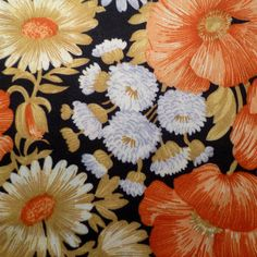 Daisies and Mums  Vintage Fabric  Polyester by blackbirdvisions, $10.00