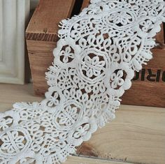 2 Yards White Venice Cotton Lace Trim Crochet Lace Sewing Costume Apparel Supplies