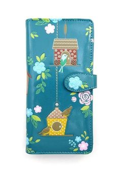 Shagwear Wallet Lotus Flower Teal Snap Tab French Purse Small Wallet