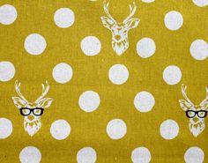 Japanese Fabric Kokka Echino Decoro Buck - mustard yellow. $10.00, via Etsy.