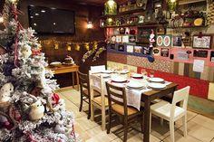 Sala de jantar decorada para o Natal