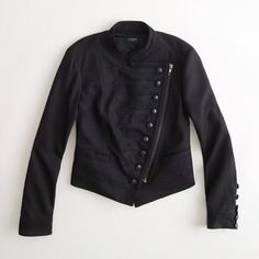 J Crew majorette jacket Black J Crew jacket with buttons down the front and buttons along the sleeves, size 6. Asymmetrical zipper. Fully lined. In perfect condition. J. Crew Jackets & Coats