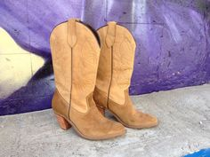 80's Capezio Cowboy Boots  Natural Suede and by ElkHugsVintage, $115.00