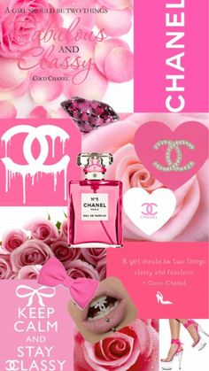 chanel, pink, and Collage image