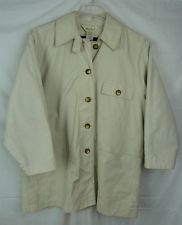Eddie Bauer Women's Coat Detachable Wool Blend Lining Khaki Button Front Size PS