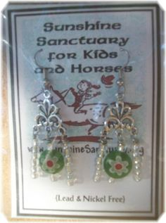 Tibetan Silver Glass Flower  Dangle Earrings - Green– Unique Handmade in USA #Handmade #DropDangle  Please take a minute to check out these  earrings on eBay, 100% goes to support Sunshine Sanctuary for Kids & Horses. If you have any questions or would like a special order made, please don't hesitate to contact me