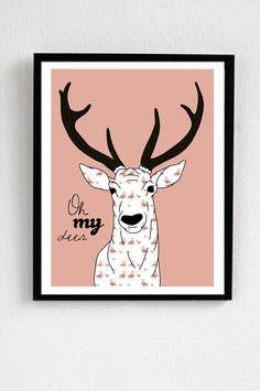 Oh My Deer - flamingo pattern
