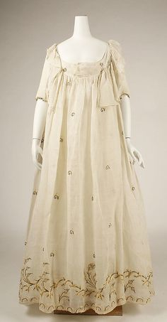 Dress Date: late 1790s Culture: American or European Medium: cotton Dimensions: Length at CB: 48 1/2 in. (123.2 cm)