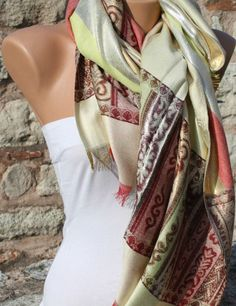 Multicolor   Shawl Scarf  Headband Necklace Cowl by fatwoman, $19.00