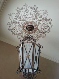 Classic European style decor and interior design - Custom ceiling medallion stencils from Modello Designs - Elegant Finishes by Gina Ceiling Decor, Ceiling Design, Interior Decorating, Interior Design, Ceiling Medallions, Stencil Designs, Home Projects, House Design, Painting