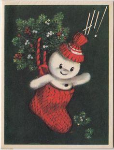 Vintage Christmas Card ~ snowman