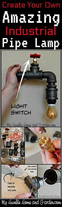 http://myhumblehomeandgarden.com/2018/01/05/industrial-pipe-lamp/ #LampMaken