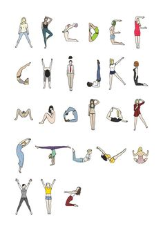 Body Typeface: Letters Formed By Women In Gymnastics, Yoga Poses - Design. -Female Body Typeface: Letters Formed By Women In Gymnastics, Yoga Poses - Design. Graffiti Lettering, Hand Lettering, Trucage Photo, Acro Yoga Poses, Acro Dance, Drawing Body Poses, Yoga Drawing, Yoga Posen, Letter Form