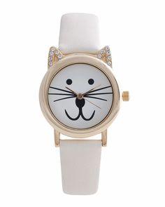 Cream Cat Watch - JewelMint