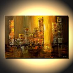 "Abstract Cityscape Original abstract contemporary Painting Mixed Media Urban Art  by OSNAT 36""x24"". $480.00, via Etsy."