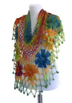 crochet flower shawl crochet shawl wedding bride by likeknitting