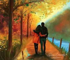 Closer by artistamroashry on DeviantArt Cute Couple Drawings, Cute Couple Art, Anime Couples Drawings, Painting Love Couple, Love Wallpapers Romantic, Animated Love Images, Romantic Paintings, Cute Love Cartoons, Love Illustration