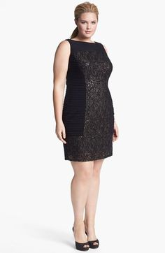 Adrianna Papell Embellished Mixed Media Sheath Dress (Plus Size) available at #Nordstrom
