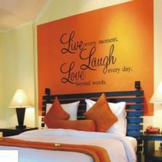 Love the idea for above the bed - definitely not in orange tho