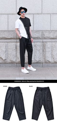 Banding Wide Cropped Baggy Slacks-Pants 236  by Guylook.com  #guylook #fashion #outfit #menswear #black #stripe #menspants #ootd #mensfashion #summer #style #instagram #cool #여름 # 남자스타일 #남자옷 #스타일 #패션 #패피