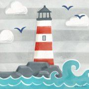 Oopsy Daisy - Canvas Wall Art Let's Set Sail - Lighthouse By Anne Bollman, Size: 21 x Red Art Wall Kids, Canvas Wall Art, Art For Kids, Hanging Canvas, Art Children, Kids Fun, Baby Kids, Art Mur, Lighthouse Painting