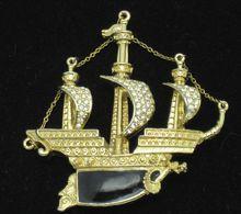 KJL Signed Kenneth Lane Vintage  Rhinestone Enamel  Pirate Ship