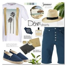 """The Final Cut: Denim Shorts"" by mada-malureanu ❤ liked on Polyvore featuring Dondup, Palm Angels, Giorgio Armani, Olfactive Studio, Armani Exchange, Orlebar Brown, PANTROPIC, men's fashion, menswear and Leather"