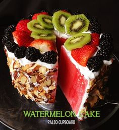 Watermelon cake!!! - 1 large seedless watermelon - 2 cans full fat coconut milk (left in fridge for 6 hours or more) - 1/2 tsp. vanilla extract - 1 Tbsp. raw honey - 1 cup sliced raw almonds - Seasonal fresh fruit (for topping)